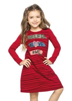 vestido manga longa infantil menina selfie vermelho elian 251303 2