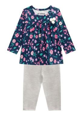 conjunto manga longa bebe menina floral marinho brandili 53601 1