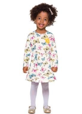 vestido manga longa infantil menina borboletas natural brandili 53757 2