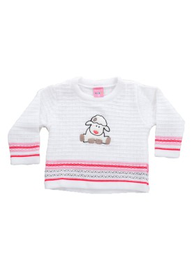 sueter trico bebe menina ovelha branco remiro 1015 1