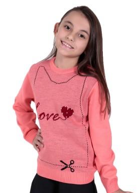 sueter trico infantil menina love salmao remiro 1233