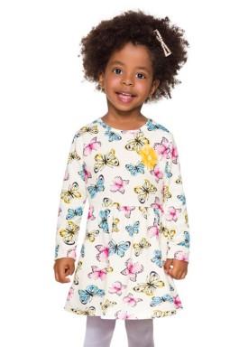 vestido manga longa infantil menina borboletas natural brandili 53757 4