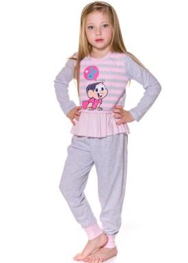 pijama longo infantil feminino turma monica mescla evanilda 24040058