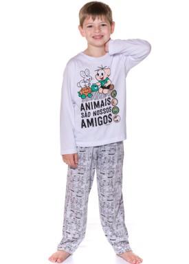 pijama longo infantil masculino turma monica branco evanilda 27040035