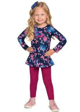 conjunto manga longa infantil feminino floral marinho alakazoo 67480 1