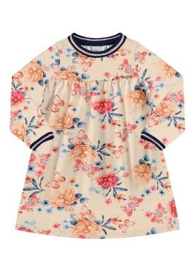 vestido manga longa infantil feminino floral salmao alakazoo 67478