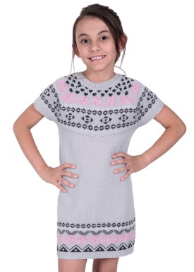 vestido trico infantil feminino jacquard cinza remyro 1239 1