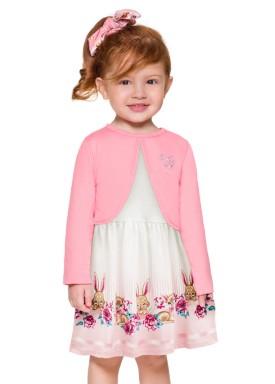 conjunto vestido bolero infantil feminino coelhos rosa brandili 53467 1