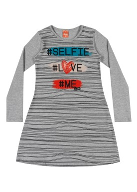 vestido manga longa infantil menina selfie mescla elian 251303
