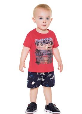 conjunto bebe masculino beach vermelho forfun 2150 1