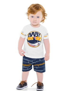 conjunto bebe masculino shark branco fakini 2208 1