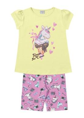 conjunto infantil feminino dream amarelo forfun 2131