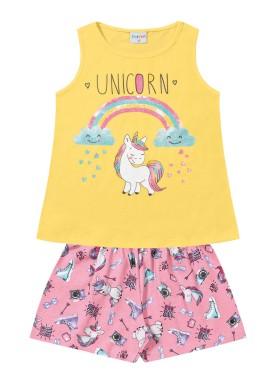 conjunto infantil feminino unicorn amarelo forfun 2122