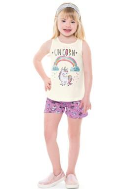 conjunto infantil feminino unicorn marfim forfun 2122 1