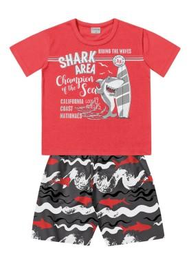 conjunto infantil masculino shark vermelho forfun 2158
