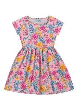 vestido infantil feminino floral rosa forfun 2126