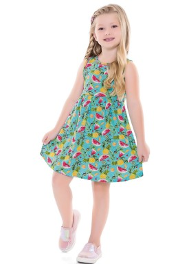 vestido infantil feminino frutas azul forfun 2128 4