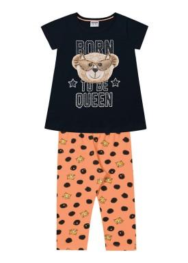 conjunto infantil feminino queen preto fakini 2020