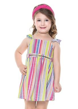 vestido infantil feminino listras verde fakini 2022 1