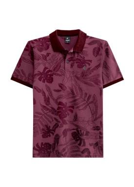 camisa polo juvenil masculina estampada bordo fico 48404