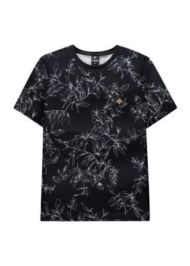 camiseta juvenil masculina estampada preto fico 38276