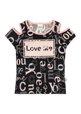 blusa infantil feminina love preto elian 251336
