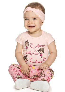 conjunto body bebe feminino dance rosa elian 21995 1