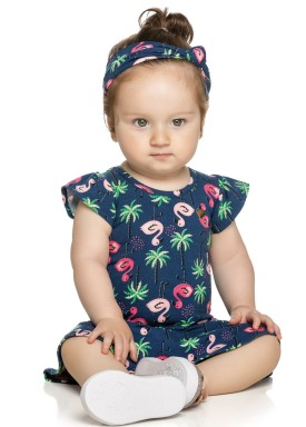 vestido bebe feminino flamingos marinho elian 21998 1