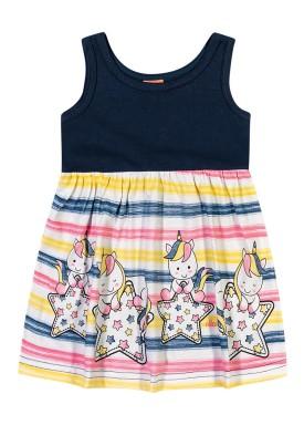 vestido bebe feminino unicornios marinho elian 211003