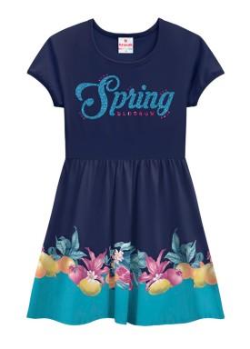 vestido infantil feminino spring marinho brandili 24266