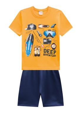 conjunto infantil masculino adventure amarelo brandili 24228