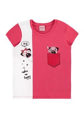 blusa infantil feminina happy rosa alenice 47042