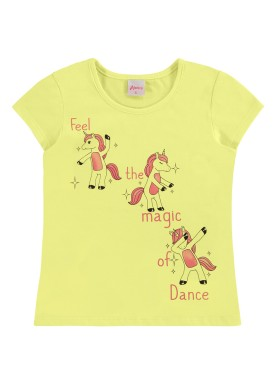 blusa infantil feminina unicornio amarelo alenice 47033