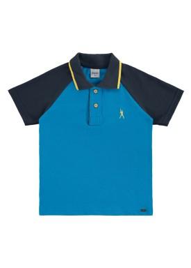 camisa polo infantil masculina baseball azul alenice 47023