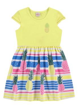 vestido infantil feminino abacaxi amarelo alenice 47045