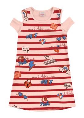 vestido infantil feminino cool salmao alenice 47034