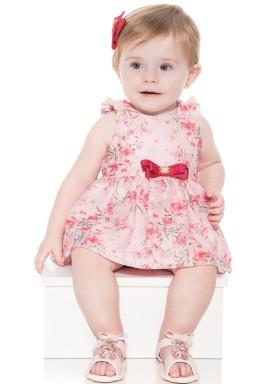 macacao banho de sol bebe menina floral vermelho paraiso 10049 1