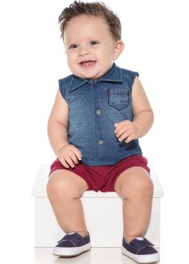 macacao banho de sol bebe menino denim bordo paraiso 10043 1