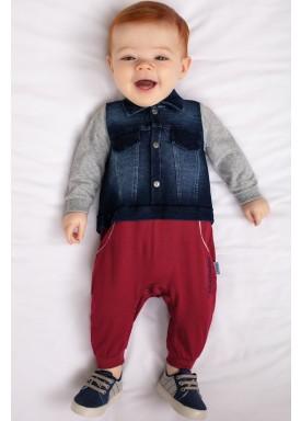 macacao longo bebe menino denim bordo paraiso 9772 1