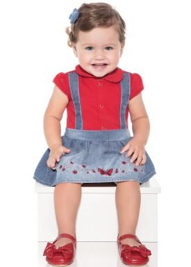 macacao meia manga bebe menina borboleta vermelho paraiso 10036 1