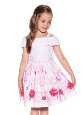 vestido infantil feminino estampado rosa paraiso 9963 1