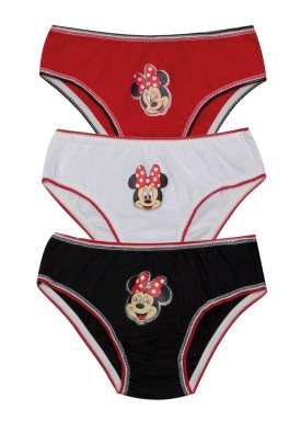 kit calcinha 3pc s infantil feminina minnie evanilda 01030017