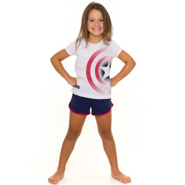 pijama curto infantil feminino capitao america branco evanilda 49050004