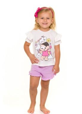 pijama curto infantil feminino turma da monica branco evanilda 60040009