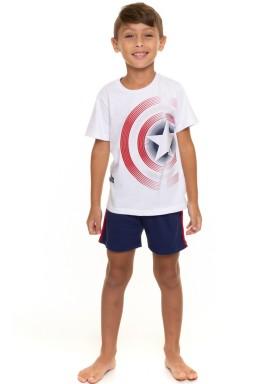 pijama curto infantil masculino capitao america branco evanilda 52050024
