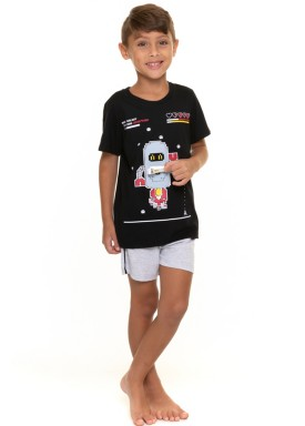 pijama curto infantil masculino robo preto evanilda 52010016