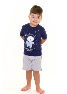 pijama curto infantil masculino super dude marinho evanilda 61010005