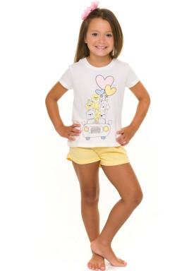 pijama curto infantil feminino cute branco evanilda 49010023