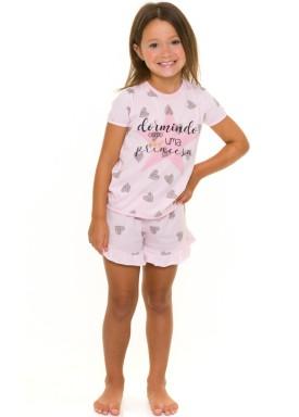 pijama curto infantil feminino princesa rosa evanilda 49010025