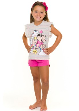 pijama curto infantil feminino turma da monica mescla evanilda 49040015
